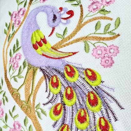 Embroidered Decorative Throw Pillow : Peacock