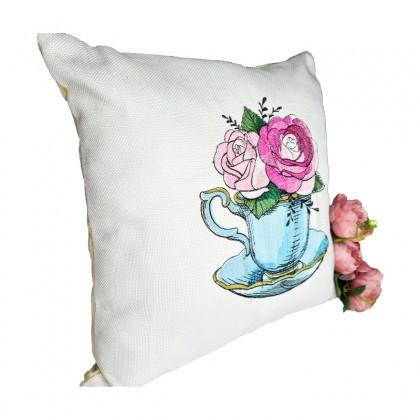 Embroidered Decorative Throw Pillow : Roses in Tea Cup