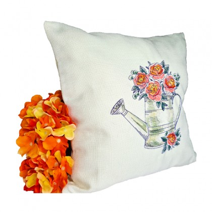 Embroidered Decorative Throw Pillow : Roses in Watering Can
